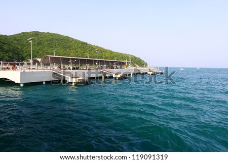Koh Larn Harbour in Thailand ,The sea - stock photo