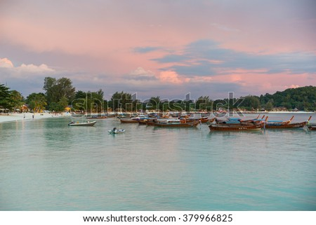 Koh Lipe,Thailand - November 28,2014 : Long tail boats lined along the beach in Koh Lipe island in Thailand