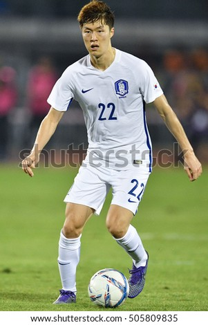 Koh Myong-jin no.22 of South Korea in action during The Friendy Match between Thailand and South Korea at Rajamangala Stadium on March 27, 2016 in Bangkok, Thailand