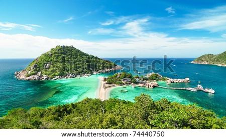 Koh Nang Yuan islands from the top view - stock photo