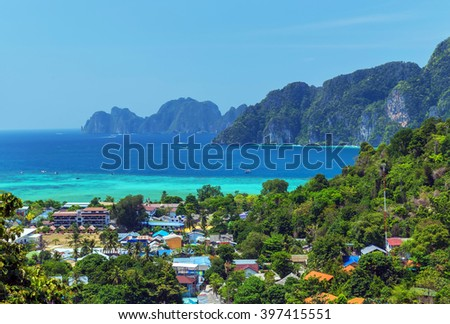 Koh Phi Phi Don in andaman sea, Phuket, Krabi, South of Thailand. - stock photo