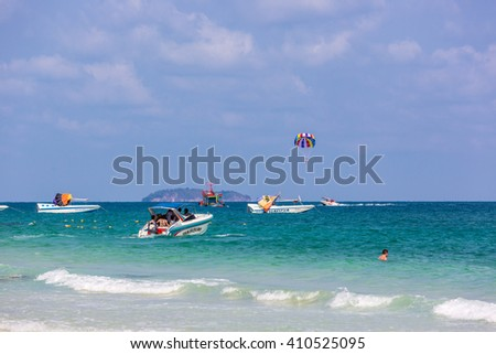 Koh Samet, Thailand - April 19th 2016 - Tourists and locals enjoying a beautiful sunny day in Koh Samet in central Thailand.