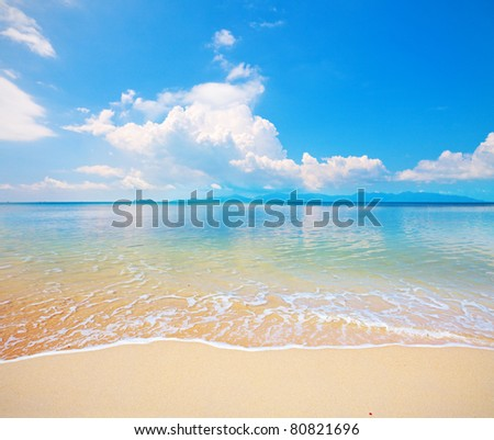 koh Samui beach and tropical sea - stock photo