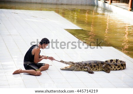 KOH SAMUI, THAILAND - December 17: Crocodile wrestler performing a show, The Day Of St. Lazarus in December 17, 2012 - stock photo