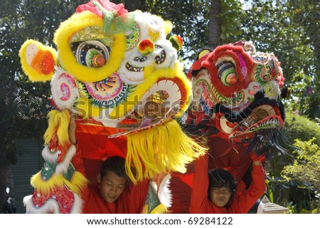 KOH SAMUI, THAILAND  - JAN 16:  Chinese New Year Celebration - Parade on the island's main street. January, 16, 2010 in Koh Samui, Thailand - stock photo