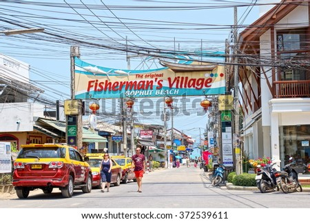 KOH SAMUI, THAILAND - 14 March 2014; One of the most pupulair touristic landmarks on the Island Of Koh Samui is the fishersman's  village Bophut beach - stock photo