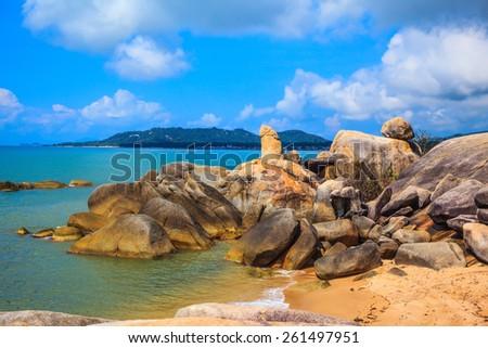"Koh Samui, Thailand. The famous group of stones on the beach of Lamai - ""Grandpa and Grandma"" - stock photo"