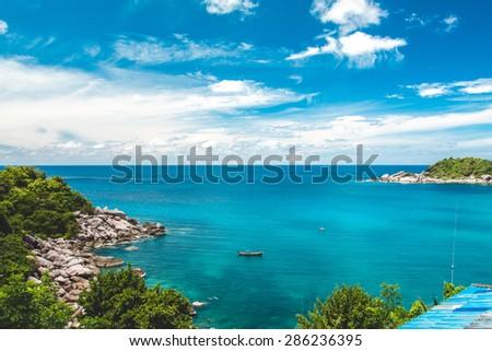 Koh Tao bay with pier, aerial way - stock photo