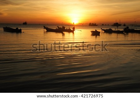 Koh Tao, evening in Thailand - stock photo