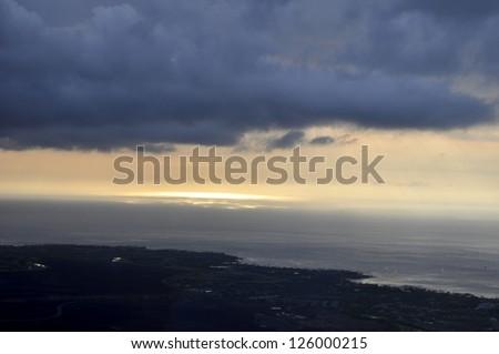 Kohala Coast from the air - stock photo