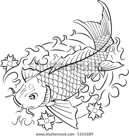 Koi fish in traditional Japanese ink style. Black & white.