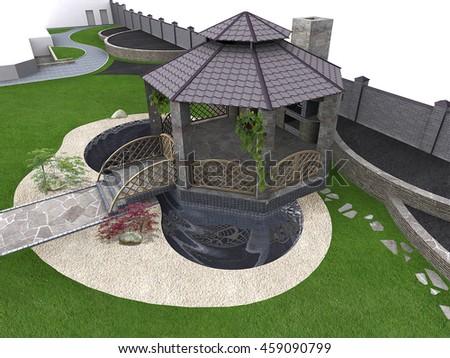 Koi pond and gazebo aerial, 3d rendering - stock photo