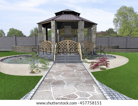 Koi pond and gazebo exterior, 3d rendering - stock photo