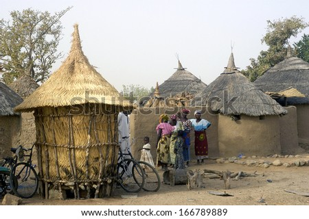 KOKEMNOURE, BURKINA FASO - FEBRUARY 24: Establishment of the new chief of village of Kokemnoure. The establishment of the new chief of village will occur here in one from the shack, february 24, 2007  - stock photo