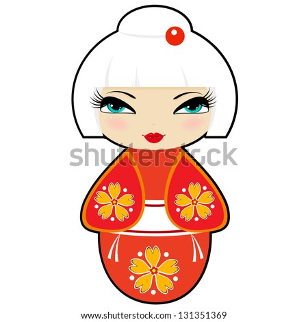 Kokeshi doll  in a red dress: raster illustration - stock photo