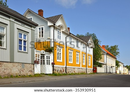 KOKKOLA, FINLAND - JULY 14, 2015:Neristan is old town of Kokkola. It is one of most extensive wooden towns in Finland. National Board of Antiquities has defined Neristan as national built heritage