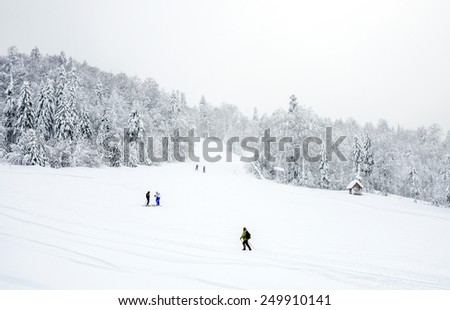KOLASIN, MONTENEGRO - FEBRUARY 1: Ski slopes in the coniferous forest in Kolasin 1450 mountain ski resort with unknown people skiing and hiking after a heavy snowfall, Kolasin, Montenegro, February 1