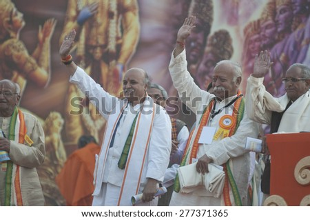 KOLKATA - DECEMBER 20:Praveen Togadia and Mohan Bhagwat together with other Hindu leaders during the Golden Jubilee celebration of VHP on December 20, 2014 in Kolkata, India. - stock photo