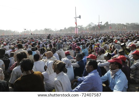 KOLKATA- FEBRUARY 13:  Massive public support for the ruling party in West Bengal during their election rally in Kolkata, India on February 13, 2011.