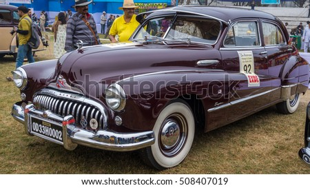 KOLKATA, INDIA - JANUARY 31, 2016: Vintage car Buick Eight (1958) on display at the Statesman Vintage Car Rally at Fort William Kolkata.