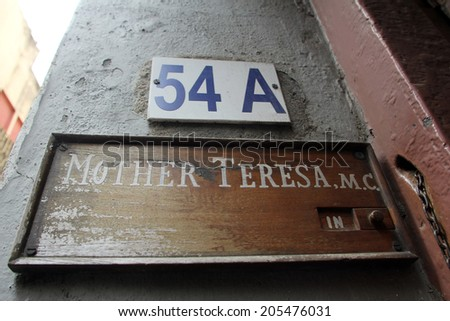 KOLKATA,INDIA - NOV 25: Sign on the entrance to Mother House, the residence of Mother Teresa in Kolkata, West Bengal, India on Nov 25,2012.
