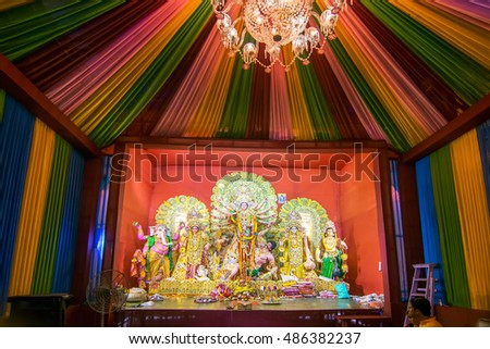 Kolkata india october 21 2015 beautiful stock photo image royalty kolkata india october 21 2015 beautiful interior of decorated durga puja pandal altavistaventures Choice Image