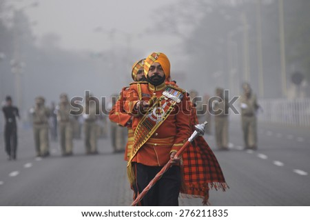 KOLKATA -JANUARY 19 : Band member of The Sikh Light Infantry - an elite Regiment of the Indian Army  during the Republic Day Parade preparation on January 19, 2015 in Kolkata, India. - stock photo