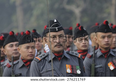 KOLKATA -JANUARY 19 : Members of The Eastern Frontier Rifles (EFR) which was founded in 18th Century during the Republic Day Parade preparation on January 19, 2015 in Kolkata, India.