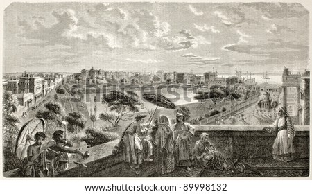 Kolkata old view. Created by Freeman, published on L'Illustration, Journal Universel, Paris, 1858 - stock photo