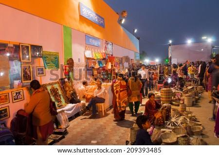 KOLKATA, WEST BENGAL , INDIA - DECEMBER 14TH 2013 : Artworks of handicraft, on display during the Handicraft Fair in Kolkata - the biggest handicrafts fair in Asia. - stock photo