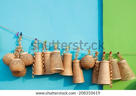 KOLKATA, WEST BENGAL , INDIA - DECEMBER 14TH 2013 : Wicker baskets , handicrafts on display during the Handicraft Fair in Kolkata - the biggest handicrafts fair in Asia. - stock photo