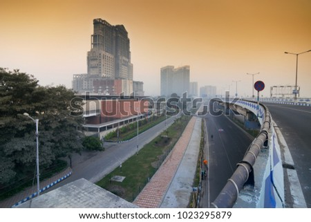 KOLKATA, WEST BENGAL , INDIA - JANUARY 26TH 2017 : Parama Island flyover, popularly known as Ma or Maa flyover is a 4.5 kilometer long flyover in Kolkata. From Alipore to Eastern Metropolitan Bypass.