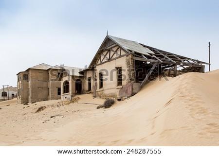 Kolmanskop sand Houses - stock photo