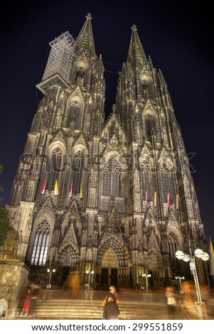 Koln, Germany. Image of Cologne with Cologne Cathedral during twilight blue hour.  - stock photo