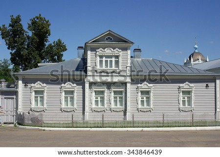 KOLOMNA, RUSSIA - Circa June, 2012: House with carved architraves in Kolomna Kremlin