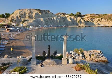 Kolymbia beach at sunset time, Rhodes island - stock photo
