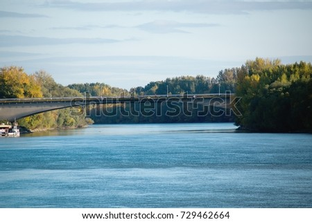Komárno/Slovakia - 2017: The Vah is the longest river within Slovakia. Bridge over the river.