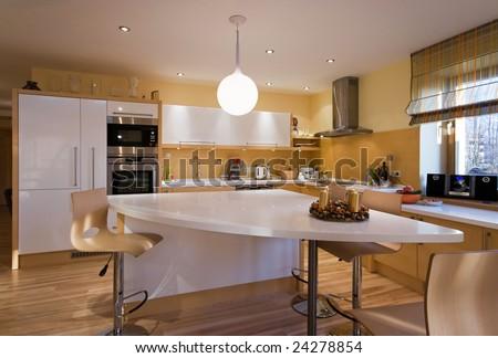 Komfortable kichen design at modern house - stock photo