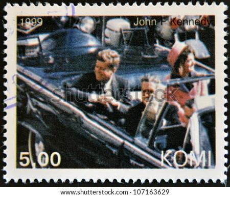 KOMI - CIRCA 1999: A stamp printed in  Komi shows John Fitzgerald Kennedy, circa 1999 - stock photo