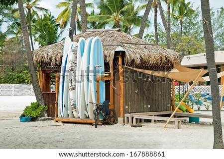 KONA, HAWAII - SEPTEMBER 6, 2011 - Surf rental shop on Kona beach on September 6, 2011 in Kona, Hawaii. Kona beaches are well known for the good spots for surfing.  - stock photo