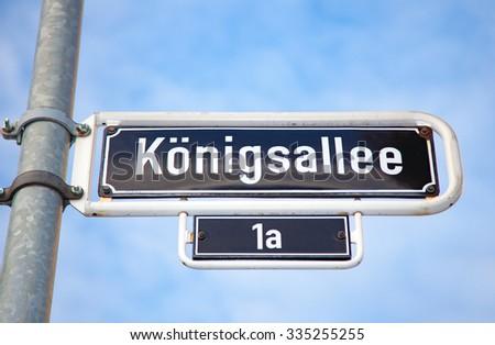 Konigsallee Dusseldorf road sign - stock photo