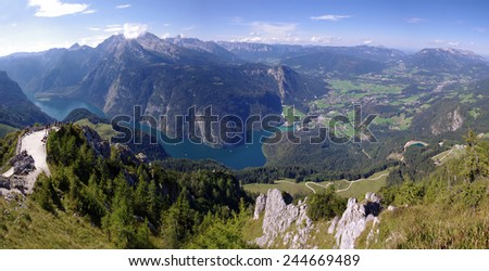 Konigsee lake in Bavarian Alps - stock photo
