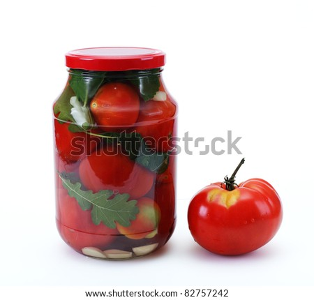 Konserviroanie vegetables in winter - stock photo