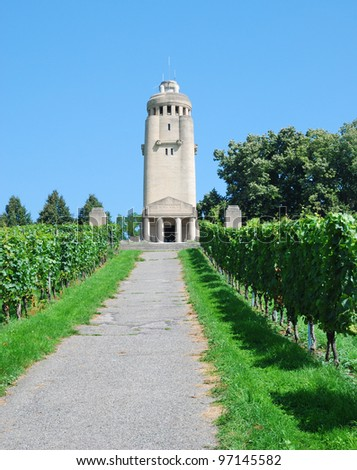 Konstanz's Bismarck tower is located at the top of a grapevine-covered hill. Bismarck Towers are a unique genre of German monument. Every Bismarck tower is also intended as a beacon.