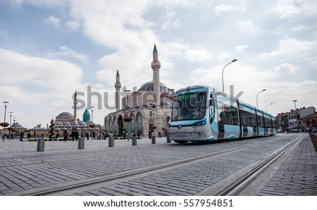 KONYA, TURKEY. November 29, 2016. A tramway train passing in front of Mevlana museum