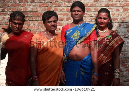 KOOVAGAM, INDIA - MAY 13: Unidentified transgenders gather during the annual festival of transgenders held at Koothandavar temple on May 13, 2014 in Koovagam,Tamil Nadu, India. - stock photo