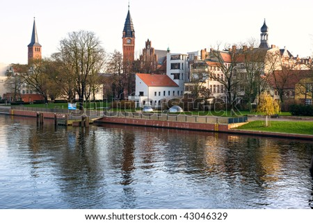 Kopenick, view from the Spree river, Berlin, Germany. - stock photo