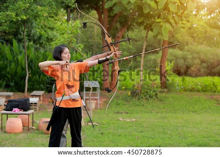 KORAT- JULY 12, 2017 The garden fitness and athletic skills by practicing archery remotely .