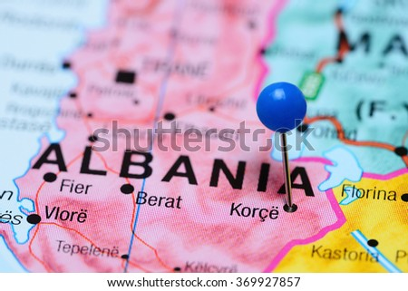 Korce Pinned On Map Albania Stock Photo Royalty Free 369927857
