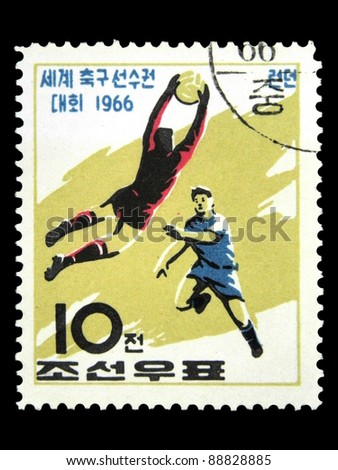 "KOREA - CIRCA 1966: A stamp printed in Korea Nord shows football players with the inscription and name of a series ""Football World Cup, England, 1966"", circa 1966"